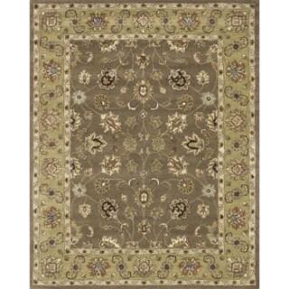 Hand-tufted Mason Mocha/ Light Gold Wool Rug (5' x 7'6)