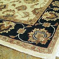 Hand-tufted Mason Beige/ Black Wool Rug (8' x 11') - Thumbnail 2