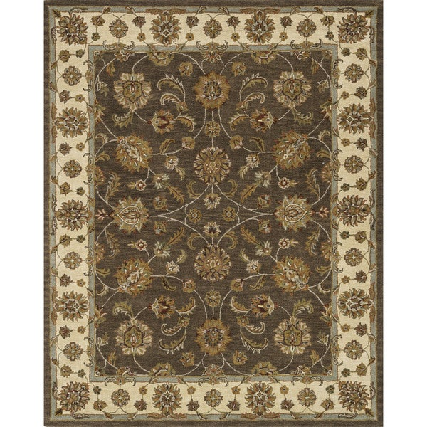Hand-tufted Mason Brown/ Beige Wool Rug (5' x 7'6)