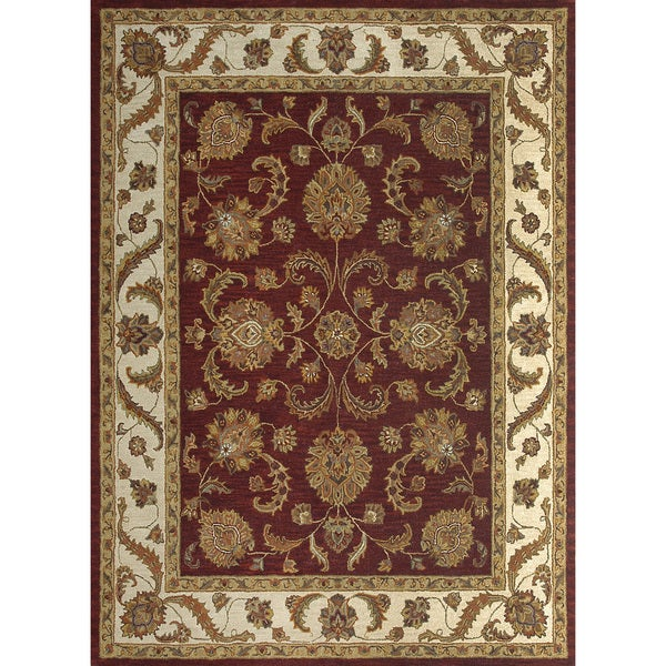 Hand-tufted Mason Red/ Beige Wool Rug (5' x 7'6)