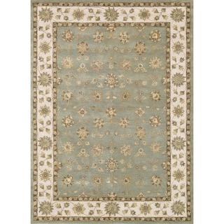 Hand-tufted Mason Blue/ Beige Wool Rug (5' x 7'6)