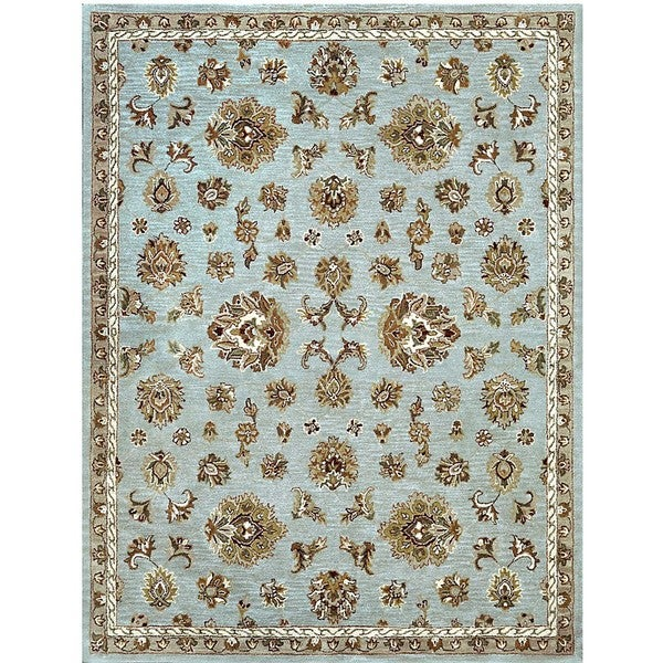 Hand-tufted Genus Grey/ Blue Wool Rug (8' x 11')