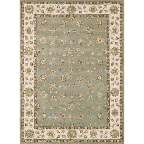 Hand-tufted Mason Blue/ Beige Wool Rug (8' x 11')