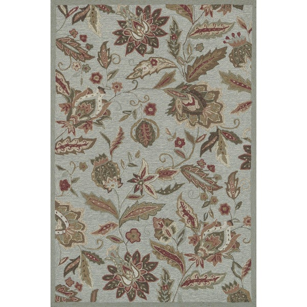 Hand-hooked Charlotte Blue Rug (7'6 x 9'6)
