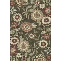 Hand-hooked Brown/ Red Floral Transitional Area Rug - 5' x 7'6