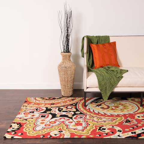 Hand-hooked Red/Black Transitional Paisley Area Rug - 5' x 7'6