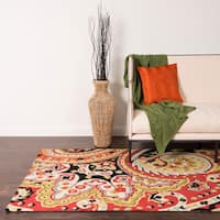 """Hand-hooked Charlotte Red/Black Rug - 7'6"""" x 9'6"""""""
