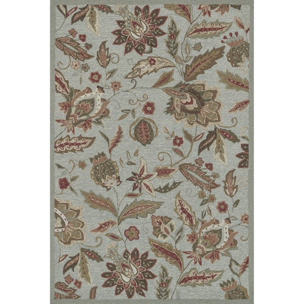 Hand-hooked Charlotte Blue Rug (5' x 7'6)