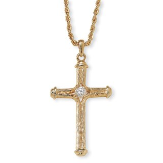 PalmBeach Crystal Decorative Cross Pendant Necklace in Yellow Gold Tone Tailored