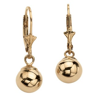 18k Gold Over .925 Sterling Silver Tailored Ball Drop Earrings