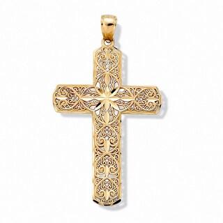 10k Gold Diamond-Cut Swirl Religious Cross Pendant Tailored