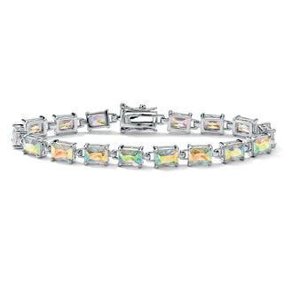 "15.30 TCW Emerald-Cut Aurora Borealis Cubic Zirconia Silvertone Link Bracelet 7 1/4"" Color"