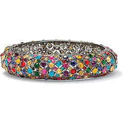 "Multicolor Crystal Black Rhodium-Plated Bangle Bracelet 8"" Color Fun"