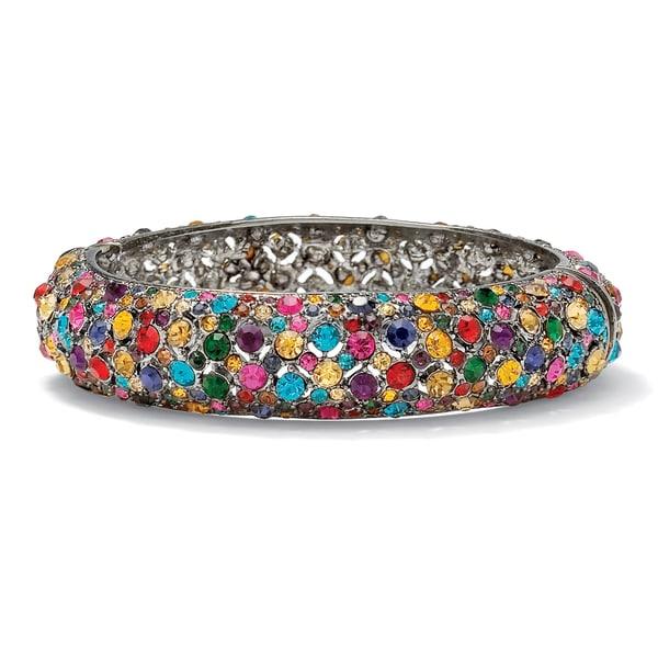 "Multicolor Crystal Black Rhodium-Plated Bangle Bracelet 8"" Color Fun"