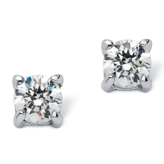 PalmBeach .50 TCW Round Cubic Zirconia Stud Earrings in .925 Sterling Silver Classic CZ