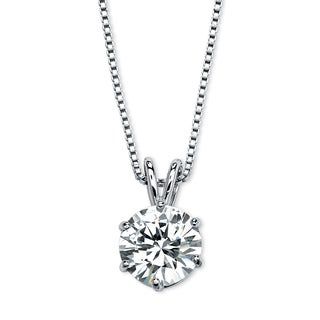 Round Solitaire Cubic Zirconia Necklace Sterling Silver 18""