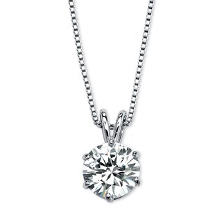 """Round Solitaire Cubic Zirconia Necklace Sterling Silver 18"""""""