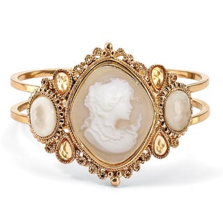 "PalmBeach Vintage Style Cameo Hinged Bangle Bracelet in Yellow Gold Tone 7 1/2"" Bold Fashion"
