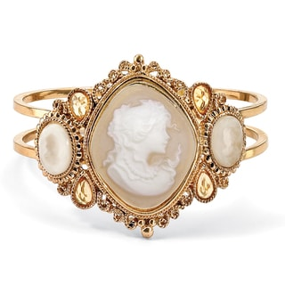 "Vintage Style Cameo Hinged Bangle Bracelet in Yellow Gold Tone 7 1/2"" Bold Fashion"