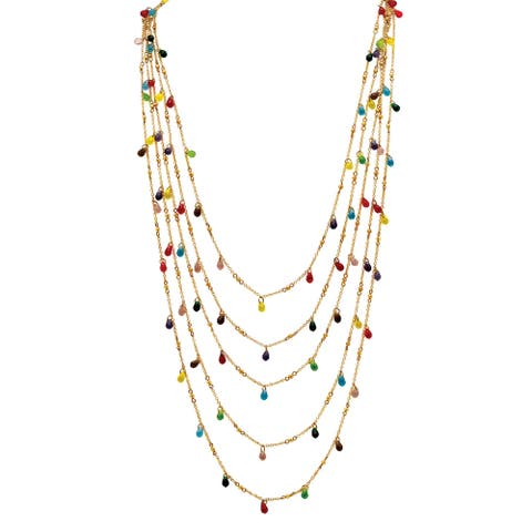 Multicolor Beaded Waterfall Necklace in Yellow Gold Tone Color Fun