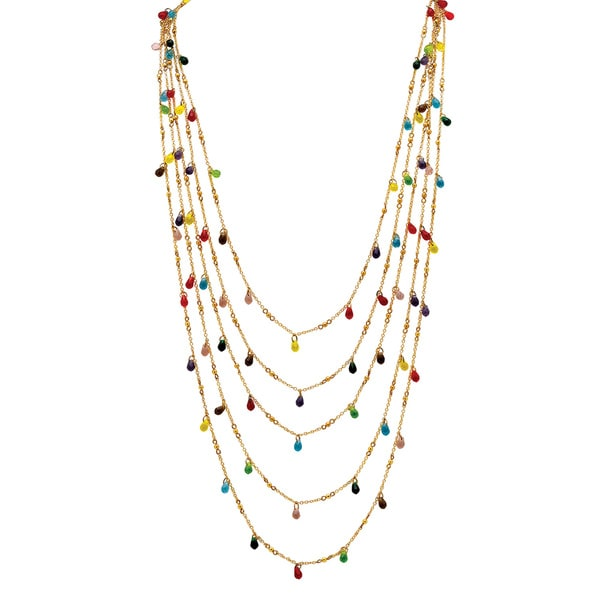PalmBeach Multicolor Beaded Waterfall Necklace in Yellow Gold Tone Color Fun