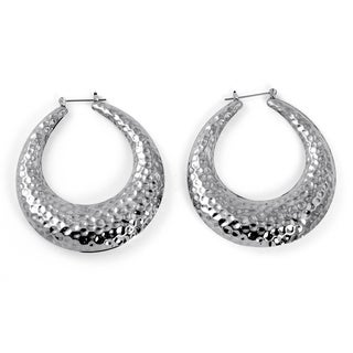 "PalmBeach Silvertone Hammered-Style Hoop Earrings 2"" Diameter Bold Fashion"