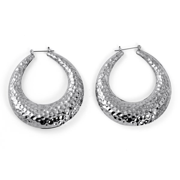 "Silvertone Hammered-Style Hoop Earrings 2"" Diameter Bold Fashion"