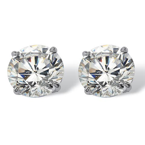 3 TCW Round Cubic Zirconia 10k White Gold Stud Earrings Classic CZ