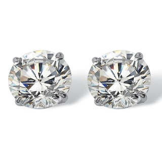 PalmBeach 3 TCW Round Cubic Zirconia 10k White Gold Stud Earrings Classic CZ