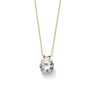 Link to 2 TCW Round Cubic Zirconia Solitaire Pendant Necklace in 10k Gold Classic CZ Similar Items in Necklaces