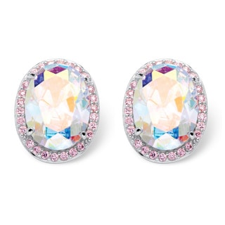 26.81 TCW Oval Cut Aurora Borealis Cubic Zirconia Earrings in Sterling Silver Color Fun
