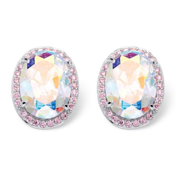 26.81 TCW Oval Cut Aurora Borealis Cubic Zirconia Earrings in Sterling Silver Color Fun