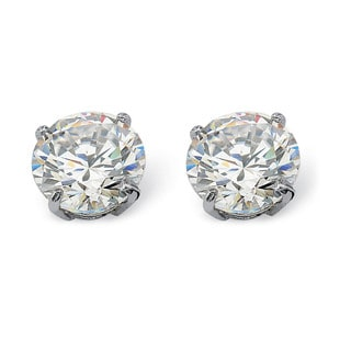 PalmBeach 1.80 TCW Round Cubic Zirconia 10k White Gold Stud Earrings Classic CZ