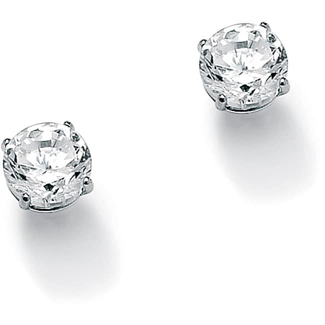 1 TCW Round Cubic Zirconia 10k White Gold Stud Earrings Classic CZ