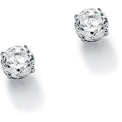 PalmBeach 1 TCW Round Cubic Zirconia 10k White Gold Stud Earrings Classic CZ