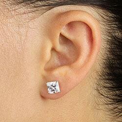 3.24 TCW Princess-Cut Cubic Zirconia 10k White Gold Stud Earrings Classic CZ