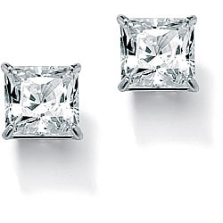 PalmBeach 3.24 TCW Princess-Cut Cubic Zirconia 10k White Gold Stud Earrings Classic CZ