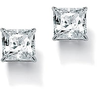 3 24 Tcw Princess Cut Cubic Zirconia 10k White Gold Stud Earrings Clic Cz