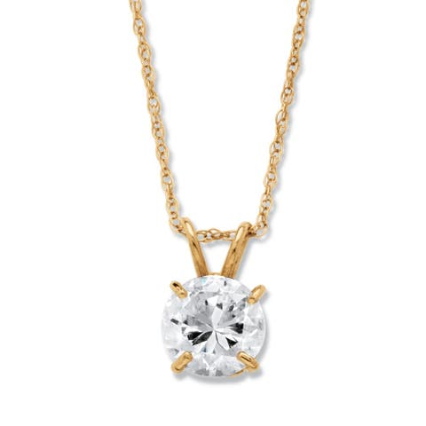 """1.25 TCW Round Cubic Zirconia Solitaire Pendant Necklace in 10k Yellow Gold 18"""" Classic CZ"""