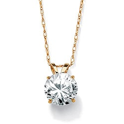 "PalmBeach 1.25 TCW Round Cubic Zirconia Solitaire Pendant Necklace in 10k Yellow Gold 18"" Classic CZ"
