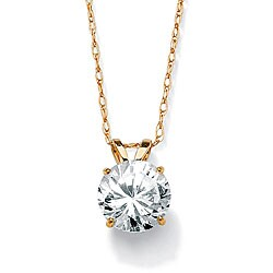 "1.25 TCW Round Cubic Zirconia Solitaire Pendant Necklace in 10k Yellow Gold 18"" Classic CZ"