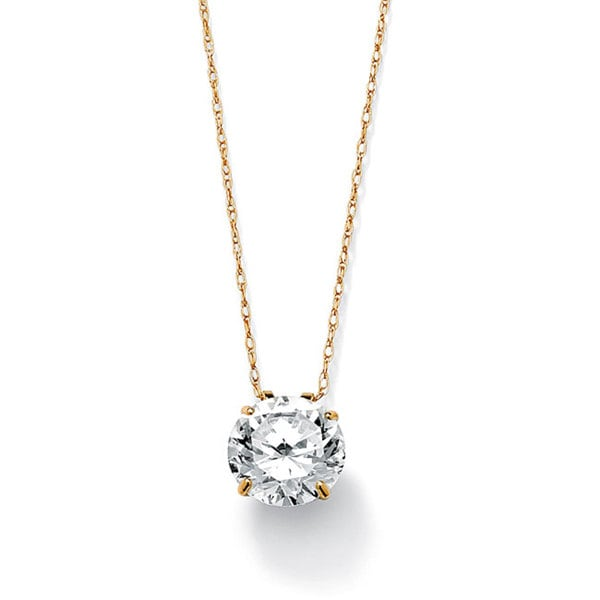 "3-Carat TCW Round Cubic Zirconia 10k Gold Solitaire Pendant and Chain 18"" Classic CZ"