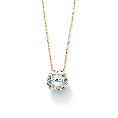 """3-Carat TCW Round Cubic Zirconia 10k Gold Solitaire Pendant and Chain 18"""" Classic CZ"""