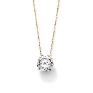 "3-Carat TCW Round Cubic Zirconia 10k Gold Solitaire Pendant and Chain 18"" Classic CZ