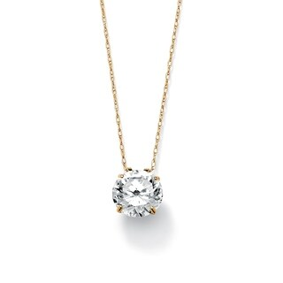 "3-Carat TCW Round Cubic Zirconia 10k Gold Solitaire Pendant and Chain 18"" Classic CZ (Option: Pendant)"