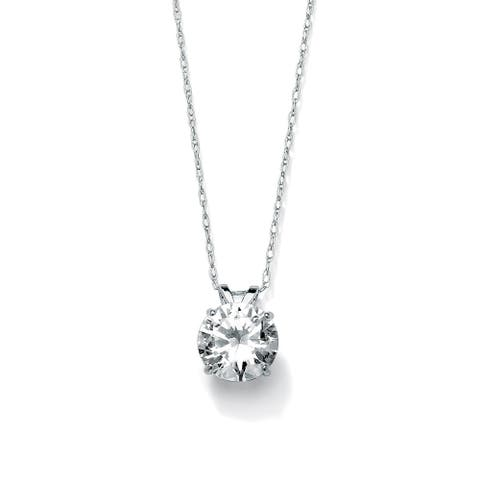 """2-Carat Round Cubic Zirconia 10k White Gold Solitaire Pendant and Rope Chain 18"""" Classic C"""