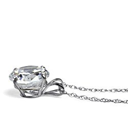 """2-Carat Round Cubic Zirconia 10k White Gold Solitaire Pendant and Rope Chain 18"""" Classic C - Thumbnail 1"""
