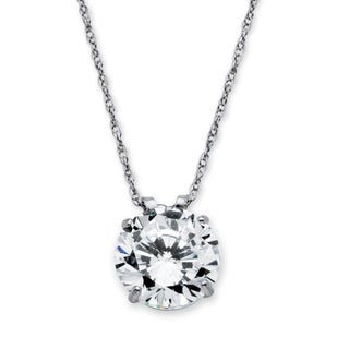 10k White Gold Cubic Zirconia Solitaire Pendant and Rope Chain