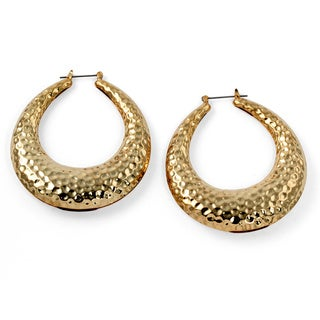 PalmBeach Hammered-Style Hoop Earrings in Yellow Gold Tone Bold Fashion