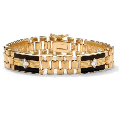 Men's Yellow Gold-Plated Onyx and Princess/Square Link Bracelet Cubic Zirconia, (1 1/2 cttw)